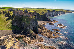 """""""Dunluce Castle & Mermaid's Cave"""" (Gareth Wray - 10 Million Views, Thank You) Tags: seascape dunluce sunset sunburst historic game fortress abandoned thrones ballycastle antrim coast national ballintoy portrush trust northern moyle castle tower ruin head atlantic sea county ireland irish old stone building landmark landscape scenic tourist tourism visit site natural sky mermaid mermaids cave rock pools algae white rocks cliffs arch wishing chair well summer famous gareth wray photography dji phantom 4 pro p4p drone aerial quadcopter uk photographer vacation holiday europe outdoor"""