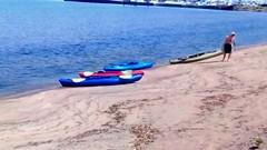 Kayaking on the bay! (Maenette1) Tags: kayaks bay beach water man marina menominee uppermichigan flickr365 amazonfirehd happybluemonday