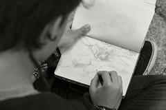 Drawing (Edu JG) Tags: dibujando drawing draw dibujo lápiz pen pencil art arte pentax girl chica blanco y negro byn black white portrait lifestyle