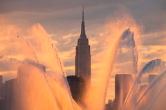 Quick Rinse (Tim Drivas) Tags: newyorkcity skyline water fountains manhattan gothamist empirestatebuilding skyscraper sunset nyc outdoor