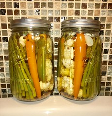 Quick Pickled Veggies (simbajak) Tags: pickled veggies vegetables carrots asparagus garlic dill jalapeno serrano chili pepper black peppercorns mustard seed cauliflower mason jars quick applecidervinegar