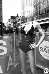 Bathing suit with a view (Frankhuizen Photography) Tags: bathing suit with view eindhoven netherlands 2017 street straat zwart wit black white zw bw reflection reflectie shopping window paspop mannequin sale fotografie photography monochrome badpak
