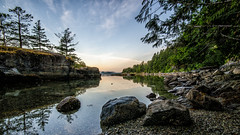 Mermaid Cove (Sworldguy) Tags: mermaidcove salterybay provincialpark sunshinecoast coastal coastline rugged jervisinlet rocky beach shoreline trees tourism britishcolumbia canada westcoast natural reflections landscape wideangle sunrise rockformation nikon d7000 dslr marine park pebbles sea seascape ocean allfreepicturesaugust2017challenge
