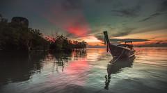 Tropic Sunrise (Jerry Fryer) Tags: thailand krabiprovince eastrailaybay sea coast beach longtailboat sunrise mangroves limestonecliffs reflections canon 5dsr ef1635mmf4l