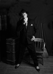 DEMOB ATTITUDE (CJs STUDIO) Tags: mono dark moody mood hat suit demob brogues cases broom rug chair hickory tie male model historic gangster mob prohibition studio story sceen setup 40s