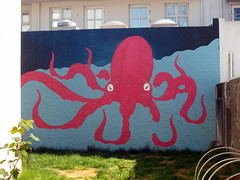 sudden octopus (kexi) Tags: iceland europe reykjavik octopus red mural samsung wb690 may 2016 backyard blue green grass windows instantfave
