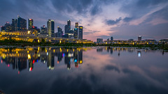 Singapore City, Clouds and Reflection (BP Chua) Tags: singapore city cityscape reflection asia water marinabay buildings clouds sunset longexposure fujifilm xt1 wideangle landscape cbd pond