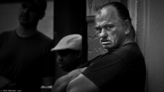 Cast your vote. (Neil. Moralee) Tags: neilmoralee usa2017neilmoralee man stare candid street hard tough violent old mature vote new orleans black white mono people group neil moralee nikon d7200 blackandwhite bw bandw shadow dark men gangster gang rough fighter