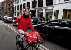 Copenhagen streets (Blinkofanaye) Tags: copenhagen københavn girl bike bicycle peace victory color smile denmark street strobe candid