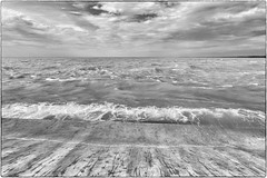 'Ever and Ever' (Canadapt) Tags: lake erie waves water clouds sand beach horizon bw portstanley canadapt