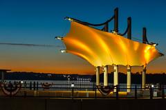 Sunset at the band shell overlooking the Ohio River (sniggie) Tags: smotherspark sunset overlookbandshell owensboro owensbororiverfront kentucky ohioriver dusk
