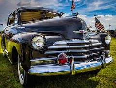 US Navy Chevrolet Style Master (aquanout) Tags: car vehicle motor chevy chevrolet naval navy wheels sky clouds flags