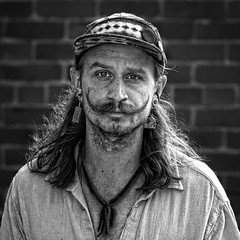 Lawrence Dude (Jim-Mooney) Tags: bw black white blackandwhite blackwhite mono monochrome monotone streetphotography people portrait candid kansascity first friday fuji xt2 fujinon50140mm