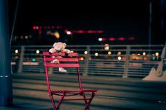Higher is better (ElmerstarK) Tags: chair night chaise climb street nuit light contrast escape outside rouge red ours rue exterieur lumière teddy bear bokeh lyon auvergnerhônealpes france fr