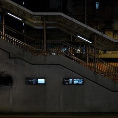 """""""time to be alone"""" (hugo poon - one day in my life) Tags: xt2 23mmf2 hongkong northpoint tongshuiroad citynight longnight dark solitude alone vanishing dilapidation footbridge urban"""