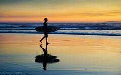 (Greg Adams Photography) Tags: huntingtonbeach beach shadows silhouettes surf surfer waves sunset dusk ca california calif southerncalifornia orangecounty golden pacific ocean travel sport surfboard reflection hhsc2000