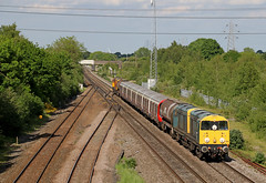 20096 + 20107 - North Staffs Junction (Andrew Edkins) Tags: class20 20096 20107 brblue choppers type1 doubleheader stockmove railwayphotography england northstaffsjunction travel lulstock londonunderground staffordshire uk canon englishelectric trees geotagged 7x09 summer 2017 may classictraction afternoon bridge light
