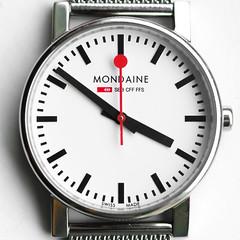 Hickory Dickory Dock (DobingDesign) Tags: clock watch macro mondaine wristwatch metal hands numerals text closeup timepiece time ticking tick secondhand red seconds beats ticktock perfectcircle