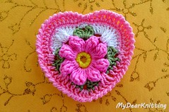 Flower Heart - beautiful (MyDearKnitting) Tags: crochet heart tutorial flower granny square pattern lesson video instruction valentine valentines motif doily love hearts tutorials work leave leaves crab stitch reverse single yellow pink green white design designs project projects favorite best fantazy new mydearknitting free neat amazing adorable