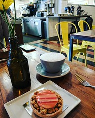 Rhubarb tart and as chai latte because I deserve it... (PTank Media Center) Tags: rhubarb tart chai latte because i deserve it