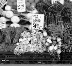 Wala Wala Onions (1 of 1) (sailronin) Tags: film analog blackandwhite bw fujiacros neopan rolleiflex6008 vegetables onions sign walawala pikeplacemarket fruitstand streetphotography hc110