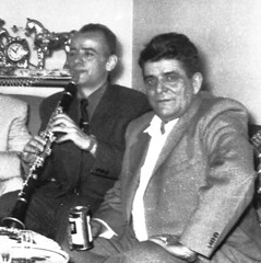 Tale Ognenovski with his Rampone  clarinet performing for his uncle Petar Hristov from North City, Illinois, USA in February 1956 (steveogn) Tags: tale ognenovski rampone cazzani clarinet performing uncle petar hristov north city illinois usa february 1956 america january 27 performed carnegie hall new york reed pipe recorder soloist macedonian national ensemble folk dances songs tanec