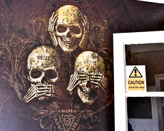 We ignored this sign! (violetchicken977) Tags: signsunday notice sign warning alert skeleton skull graphicdesign