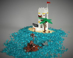 Sabre island 6265 MOC (adde51) Tags: adde51 lego moc 6265 sabre island summer joust 2017 pacific fort white yellow raft shark ocean pirate pirates journey sailing