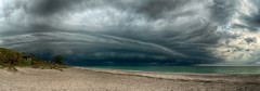 Drama on the Beach (DonMiller_ToGo) Tags: panoimages4 hdrphotography nature thunderstorm d5500 panorama florida hdr panoramic 3xp beaches clouds cloudporn sky skycandy seascapes outdoors wallcloud beachphotography cloudsstormssunsetssunrises