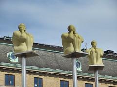 Hear no, see no, speak no evil: statues on pillars, Drottningtorget, Gothenburg, Sweden (Paul McClure DC) Tags: gothenburg sweden sverige july2015 göteborg sculpture architecture
