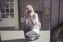 ° (°Bracket) Tags: cosinact1050mmf2 333bracket london film 35mm analouge expiredfilm girl self mirror street reflection protection vans tattoos blonde light sun