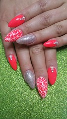 Red hot crimson with white stamping nail art