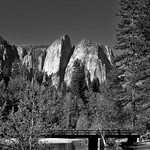 Swinging Bridge with a Backdrop of Cathedral Rocks and Spires (Black & White) thumbnail