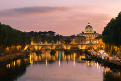 The famous picture of Rome, view of the Vatican over the Tiber River as taken from Punto Umberto (Christine's Phillips (Christine's observations)) Tags: red rome europe europeancapital beautiful dramaticsky sunset sunrise pinkhues happiness calm serence momentsintime christinephillips vatican michaelangelo stunning travel explore interesting wow italy