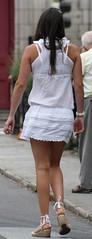363 (SadCire) Tags: woman female frau femme mujer girl teen thigh shoulder brown calves legs miniskirt minidress skirt dress heels wedges street candid sexy