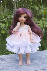 Coral dress (~Akara~) Tags: bjd ball jointed doll fairyland fairy land fl littlefee little fee ltf mio tan custom faceup face up handmade dress tulle etsy