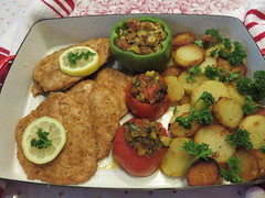 Wiener schnitzel, sautéed potatoes and stuffed vegetables with ratatouille. (Traveling with Simone) Tags: homemade schnitzel potatoes sautéed tomatoes ratatouille food meal dinner lunch repas dîner vegetables légumes