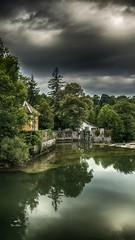 Entre les arbres... (Fred&rique) Tags: lumixfz1000 photoshop raw hdr jura champagnole rivière ain paysage nature ciel nuages pluie orages eau reflets vert gris