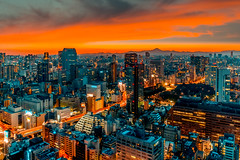 As night falls (JohnNguyen0297 (busy - on/off)) Tags: tokyo sunset japan cityscape citiscape modern orangeandteal a6000 icle6000 nightphotography
