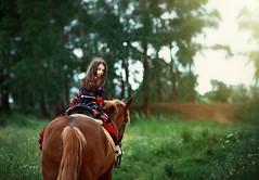 Gipsy girl (Kristina_korotkova) Tags: girl child model gipsy horse field wood sun greens summer red
