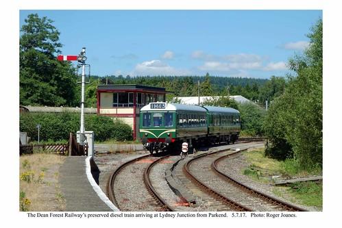 Lydney Junction. Diesel train from Parkend arriving. 5.7.17