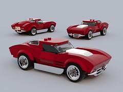 Split Window 63 Vette (brandcamacho) Tags: corvette 1963 chevy chevrolet stingray splitwindow lego speedchampions city 6wide sportscar blurerender