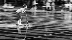 Slip on the water (Sohmi ︎) Tags: nantes miroirdeau watermirror ©sohmi noiretblanc monochrome blackwhite camaieu street naoned loireatlantique french france wwwsohmifr miroir nikond810 tamronsp90mm mouvement extérieur outside nikonflickraward