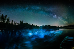 Milky Way Storm and a Boat (*Capture the Moment*) Tags: 2017 f28 fisheye kirchsee lakekirchsee milchstrasse milkyway reflection reflections reflexion sonya7m2 sonya7mii sonya7ii sonyilce7m2 walimexpro