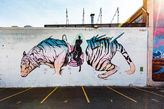 White Tiger Near Larimer Street (Chase Hoffman) Tags: wideangle canonef1635mmf28lusm colorado eos color chasehoffmanphotography chasehoffman canon denver architecture structure downtown canonef1635mmf28liiusm sun graffiti brick flare art concrete mural rino fivepoints streetart