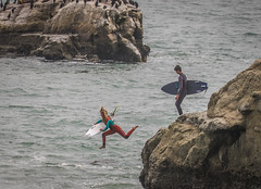 Girl Surfer (manypalms) Tags: california surfer santacruz steamerlane cliffjump pacific pacificsurfer guts surfing surfergirl