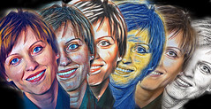 Six smiles (ZenonasM) Tags: woman lady smile painting six