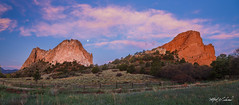 Path To The Gods_MG_0789_0790_0791-Pano (Alfred J. Lockwood Photography) Tags: alfredjlockwood nature landscape dawn sunrise clouds southgatewayrock grayrock gardenofthegods colorado summer path rockformation sandstone sky panorama moonset