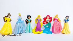 Disney Princess (Isabelle Fl...) Tags: disney princess kinder surprise snow white snowhite sleeping beauty ariel mermaid rapunzel jasmin cinderella beast belle dolls