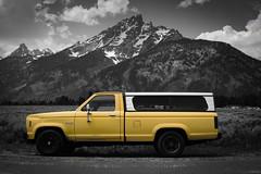 Alexa in Yellow (Stephen Guilbert) Tags: truck ford ranger mountain mountains yellow bw teton tetons wyoming roadtrip travel nikon lightroom nikond3300 nikonphotograpy